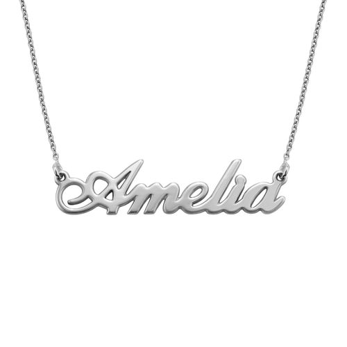 "Small Sterling Silver ""Carrie"" Style Name Necklace - 1"