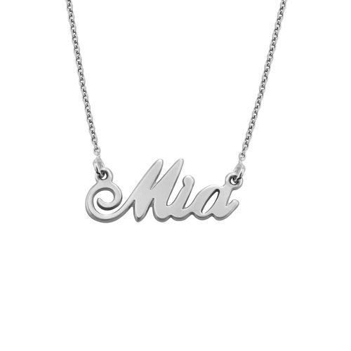 "Small Sterling Silver ""Carrie"" Style Name Necklace - 2"