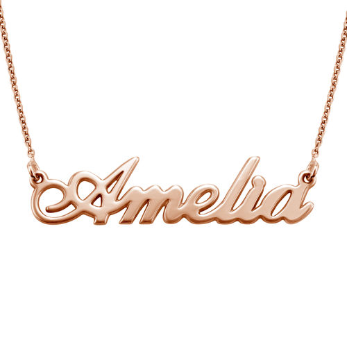 Small Classic Name Necklace in 18k Rose Gold Plating - 1