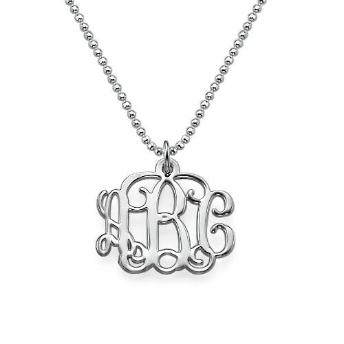 Small Monogram Necklace in Silver