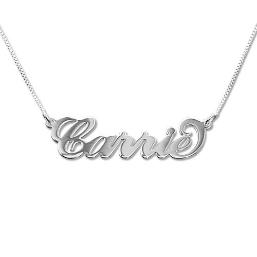 """Small 14k White Gold """"Carrie"""" Style Name Necklace"""