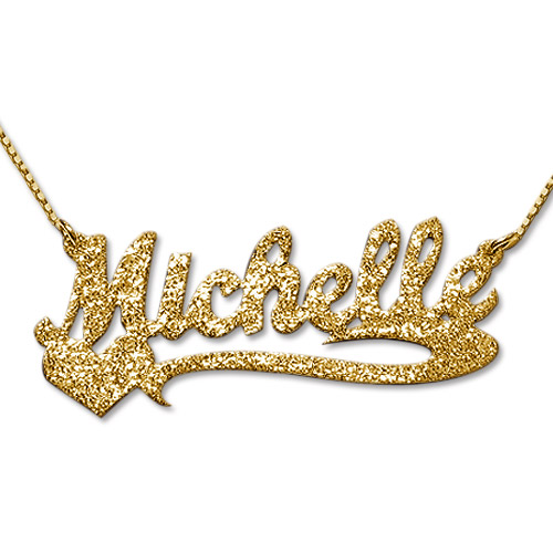 Sparkling Diamond Cut Gold Plated Heart Name Necklace