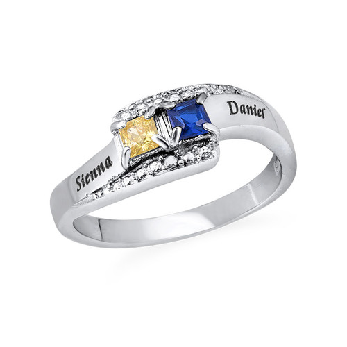 Sparkling Two Birthstone Ring with Engraving