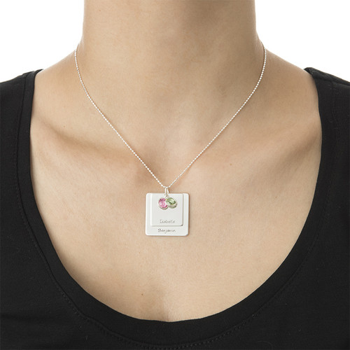 Square Pendant Necklace with Engraving - 2