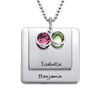 Square Pendant Necklace with Engraving