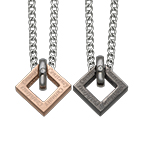 Square Shaped His and Hers Necklaces