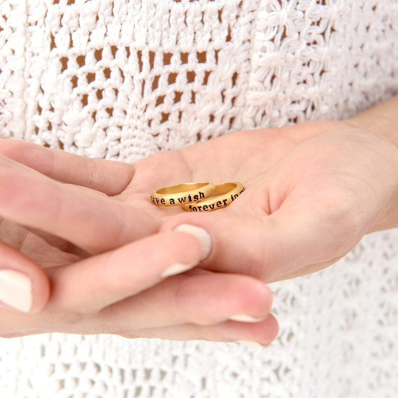 Stackable Engraved  Ring with Names in Gold Plating - 3