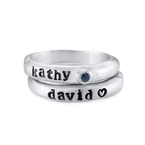 Stackable Engraved  Ring with Birthstone in Sterling Silver - 1