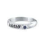 Stackable Engraved  Ring with Birthstone in Sterling Silver