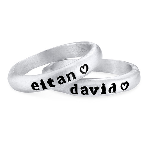 Stackable Engraved Ring with Names in Sterling Silver - 1