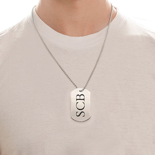 Stainless Steel Dog Tag Necklace with Initials - 1