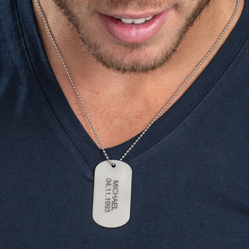 Stainless Steel Engraved Dog Tag Necklace - 1