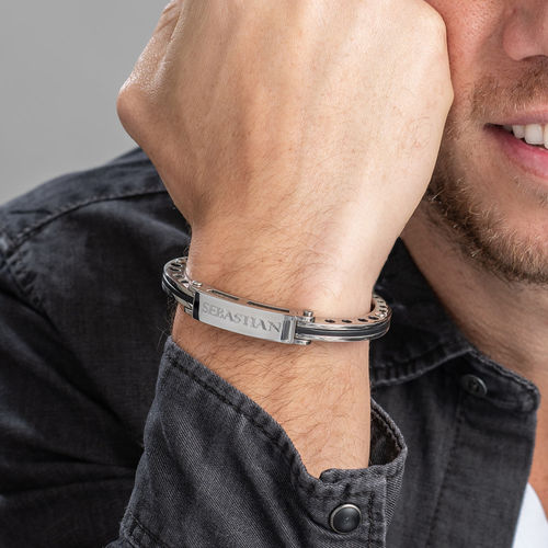 Stainless Steel Engraved Men's Bracelet - 2