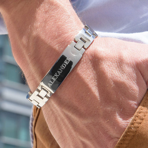 Stainless Steel Men's Bracelet with Engraving - 1