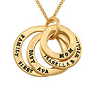 Stamped Family Disc Gold Plated Necklace