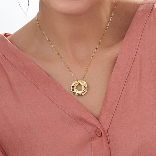 Stamped Russian Ring Gold Plated Necklace - 2