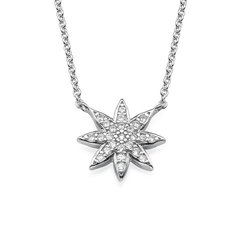 Star Shaped Necklace with Cubic Zirconia
