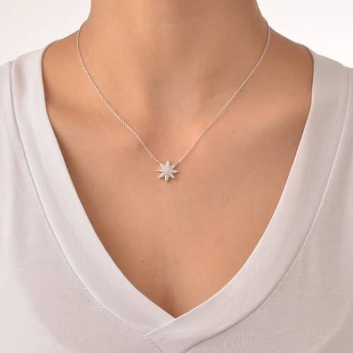 Star Shaped Necklace with Cubic Zirconia - 1