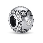 Star Silver Bead with Cubic Zirconia