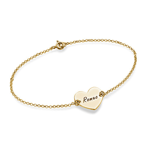 Engraved Heart Couples Bracelet in 18k Gold Plating
