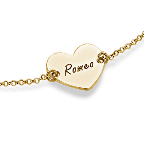 Engraved Heart Couples Bracelet in 18k Gold Plating - 1