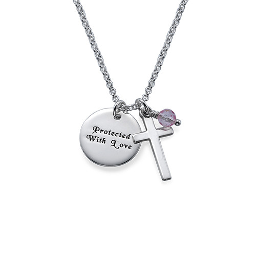Sterling Silver Baptism Necklace with Engraved Disc