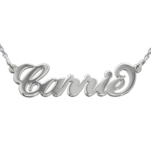"Silver ""Carrie"" Name Necklace with Rollo Chain"