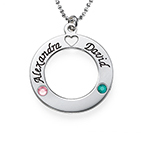 Sterling Silver Name Circle with Swarovski Birthstones