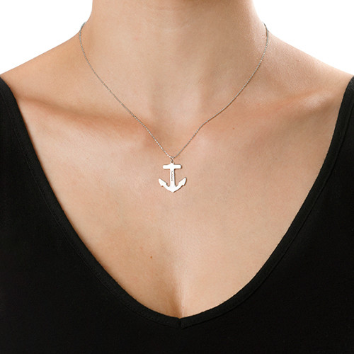 Sterling Silver Engraved Anchor Necklace - 1