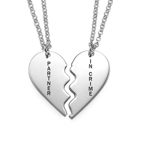 Sterling Silver Engraved Broken Heart Necklace