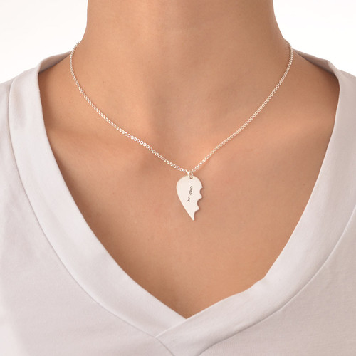 Sterling Silver Engraved Broken Heart Necklace - 2