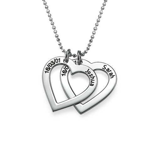 Silver Engraved Heart Necklace - 1