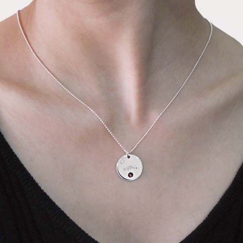 Engraved Disc & Birthstone Necklace For Mothers - 2