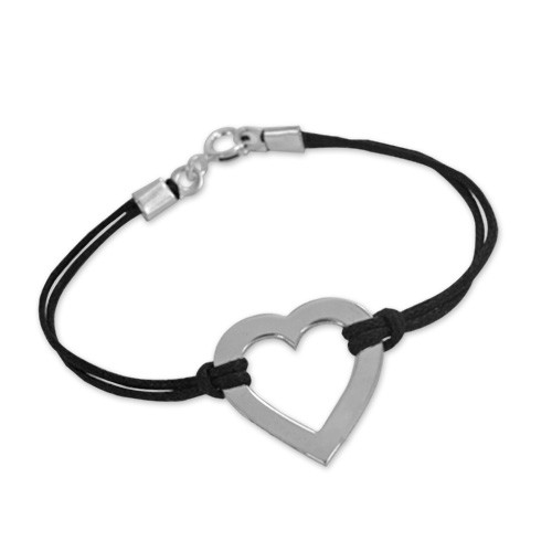 Sterling Silver Engraved Heart Bracelet