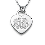 Sterling Silver Engraved Heart Necklace with Monogram