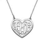 Sterling Silver Heart Initial Necklace Monogram