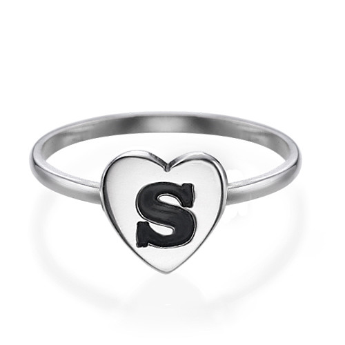 Sterling Silver Heart Initial Ring - 1