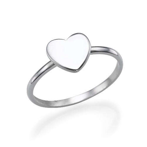 Sterling Silver Heart Initial Ring - 2