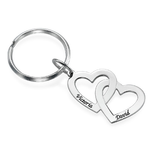 Sterling Silver Heart in Heart Keychain