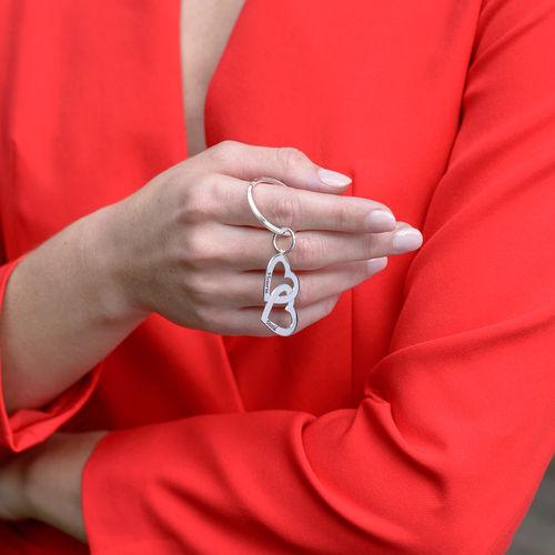Sterling Silver Heart in Heart Keychain - 1