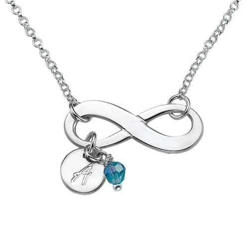 Personalized Infinity Necklace in Sterling Silver - 1