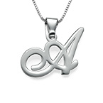 Sterling Silver Initials Pendant with Your Letter