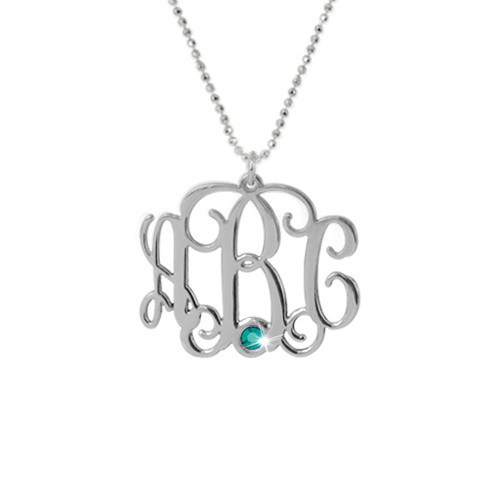 Silver Three Initial Monogram Necklace with Swarovski