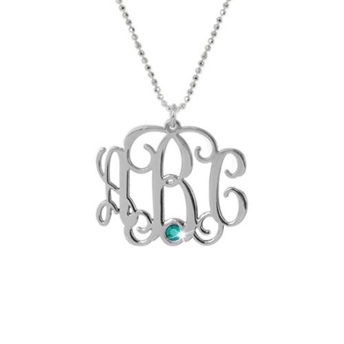 Silver Three Initial Monogram Necklace with Swarovski