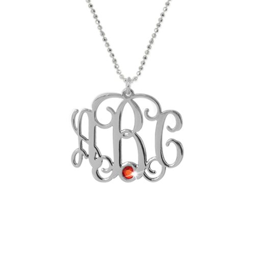 Silver Three Initial Monogram Necklace with Swarovski - 1