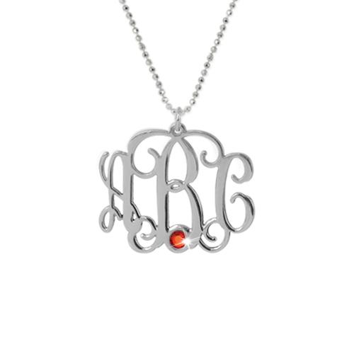 Silver Three Initial Monogram Necklace with Swarovski - 1