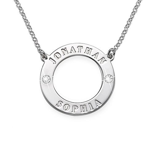 Silver Personalized Karma Necklace with Swarovski