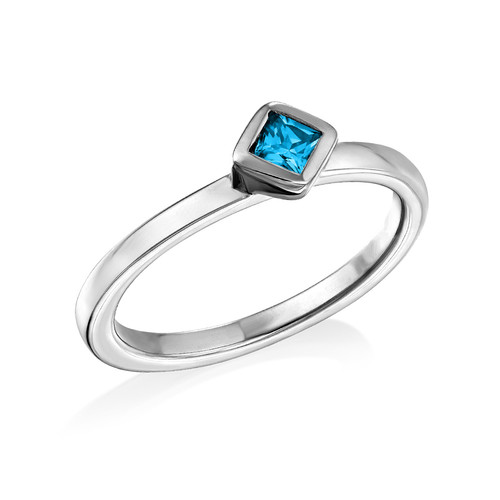 Sterling Silver Stackable Blue Lagoon Rhombus Ring