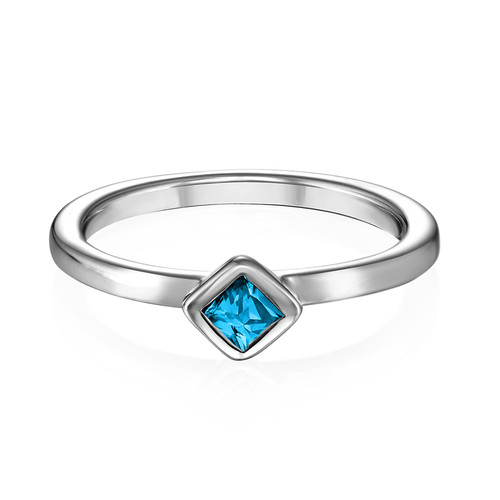Sterling Silver Stackable Blue Lagoon Rhombus Ring - 1