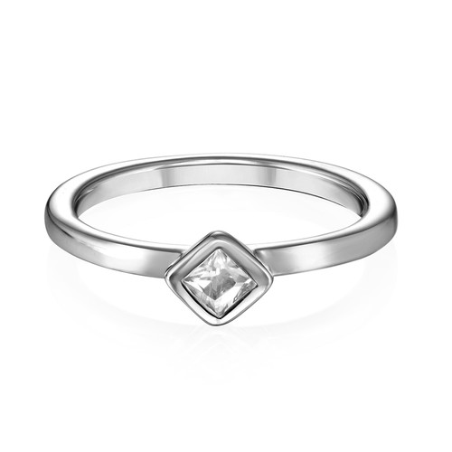 Sterling Silver Stackable Crystal Clear Rhombus Ring - 1